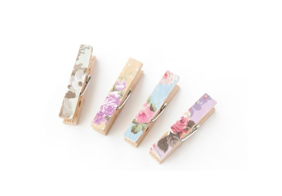 FLORAL WOODEN CLOTHES PINSCLIPS